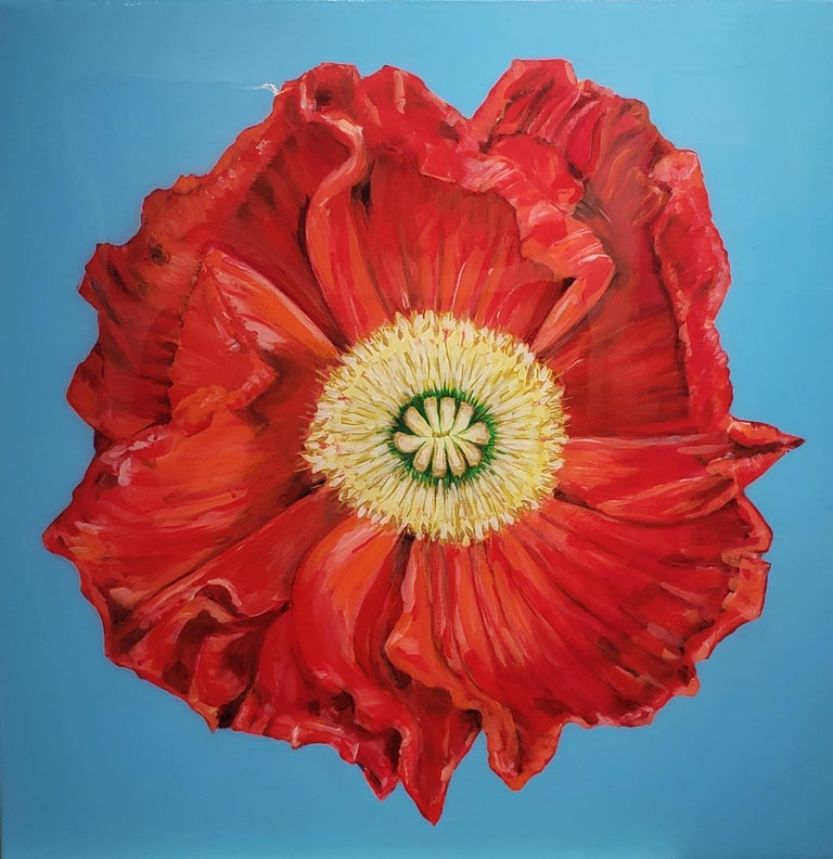 June Arthyr Still-Life Painting - African Poppy, Realism, Acrylic w/Resin, Floral Painting, Gallery Wrap