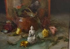 Asian Mud  Man w/ Copper Bowl, American Impressionism, New Mexico, Classical Art