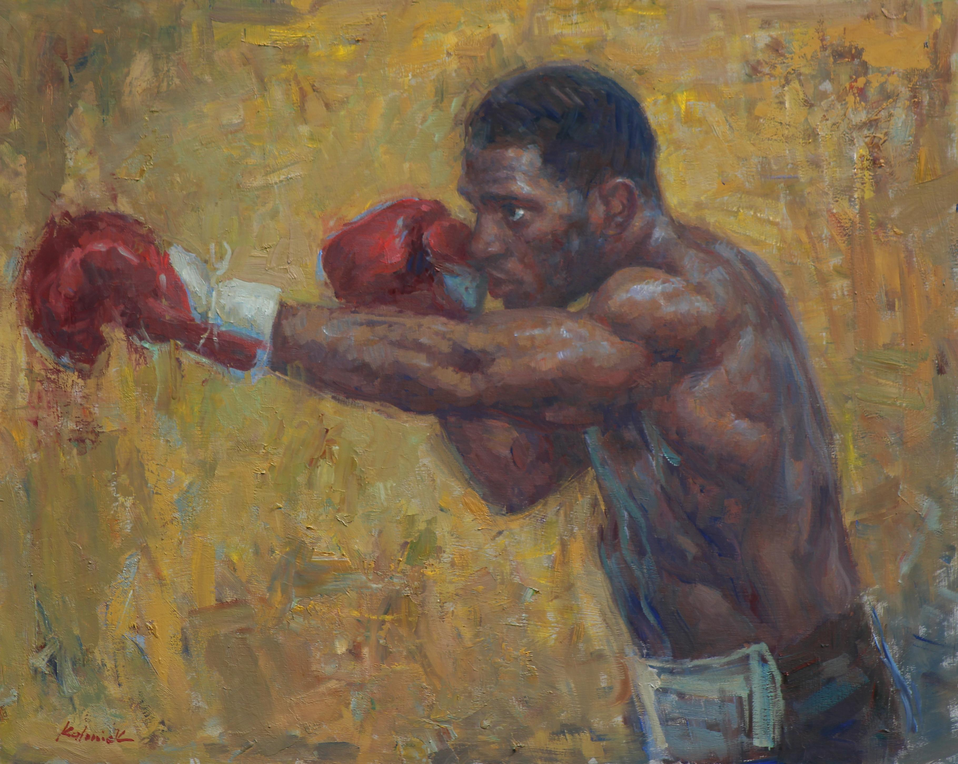 Kurt Scoby, portrait, professional boxer, welterweight division, oil painting