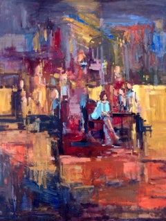 Evening out, oil painting, American Expressionism style