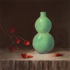 Antique Vase,and Eucalyptus,  Painted in the Style of Realism, Oil Texas Artis