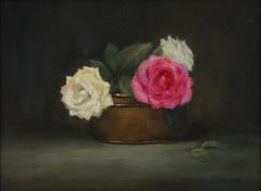 Roses in Copper   Painted in the Style of Realism, Oil Texas Artist