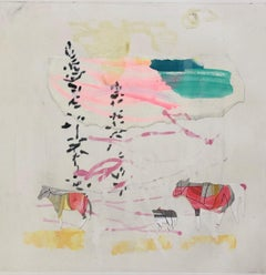 Travelers, Monotype painted in the style of Abstract Landscape