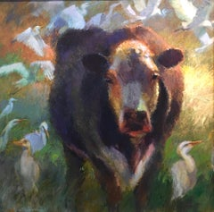 With Few Egrets,Texas Cattle,Impressionism Texas Ranches,Texas Artist,No Egrets