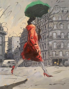 Coco in Paris IV. Impressionism Style, Cuban artist.European setting, France