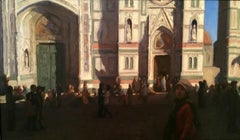 The Duomo, oil painting in the Style of Realism, Florence Italy Light and Shadow