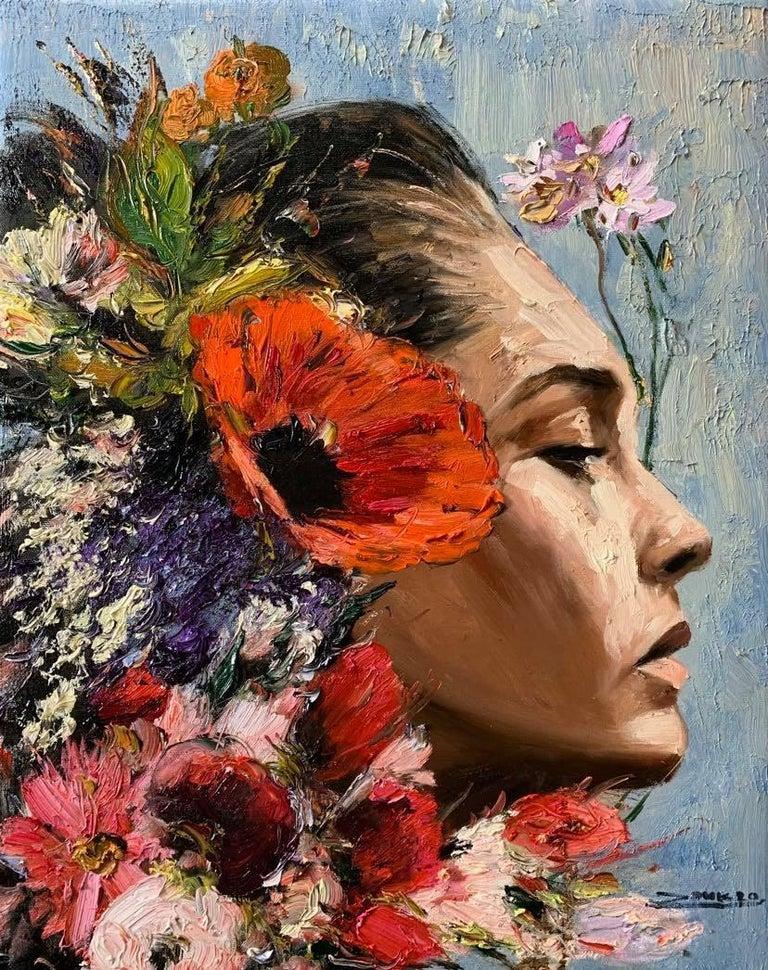 Elizabeth, Impressionism, Floral, Portrait, Cuban Artist in USA, oil painting For Sale 1