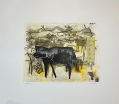Cows, Monotype and Collage painted in the style of Abstract  Figurative Art