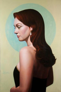 Blue Moon, American Realist painter, Representational Figurative art, Portrait