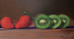 Strawberries & Kiwi ,oil painting still-life  Realism style, American Realist