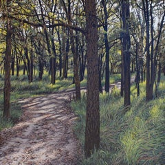 Forest Bathing  , landscape oil painting, in the  Realism style, Texas artist