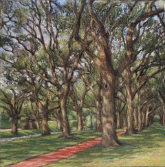 North Blvd,Houston, landscape oil painting, in the  Realism style, Texas artist