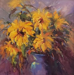 Sunflowers , oil painting, American Expressionism  ,Texas Artist, Floral