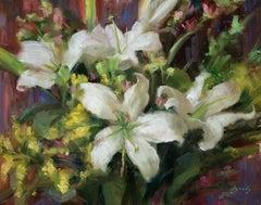 Lilies, floral paintings, S.W. Art 21 under 31  artist, Representational