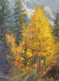 Aspens,   Landscape, oil painting , Texas Artist, Western Art, Colorado