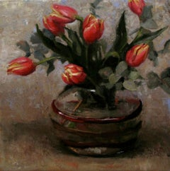 Red Tulips, oil painting on linen,  Style of Realism, Florence,framed