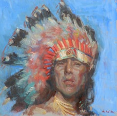 Eagle Feather, Native American Indian, oil painting , Texas Artist, Western Art