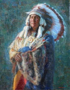 White Eagle , Native American Indian, oil painting , Texas Artist, Western Art