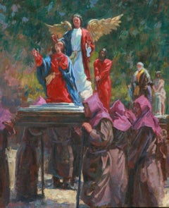 Guatemala Holy Week procession , oil painting, vivid colors , Texas Artist,