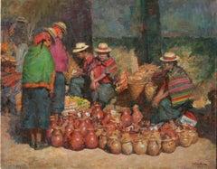 Todos Santos Market Guatemala, oil painting, vivid colors , Texas Artist,