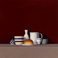 Six Objects w/a Roll, oil painting, American Realism, Realist Painter,