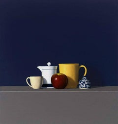 Red Apple w/ Four Objects , oil painting, American Realism, Realist Painter,