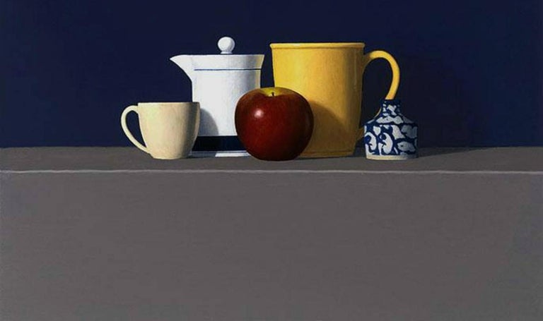 David Harrison, is a master in the style of Realism painting. Red Apple with Four Objects shows the simple beauty of Realism paintings. Gallery Wrapped. Harrison, a painter from the Boston area focuses on the interaction of positive and negative