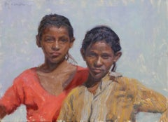 Rajasthani Gypsy Girls, oil painting, American Impressionistic, Indian Art
