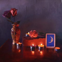 Rosas y Luna by Candlelight oil painting on aluminum still-life , Realism