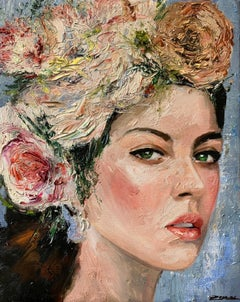 Anna, Impressionism, Floral, Portrait, Cuban Artist in USA, oil painting