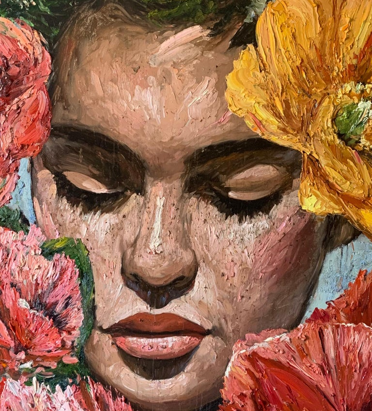 Chloe, Impressionism, Floral, Portrait, Cuban Artist in USA, oil painting - Brown Figurative Painting by Eric Alfaro