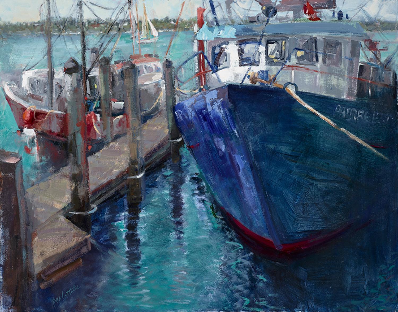 Docked, oil painting, Award of Excellence,  San Francisco Harbor, Ocean,framed