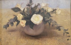 White Roses, oil painting on linen,  Style of Realism, Florence,framed
