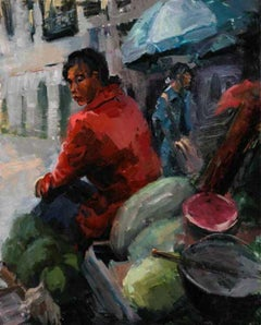 Market Vendor-Tibet, oil painting, Award of Excellence, Prayer Flags, framed