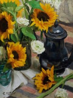 Sunflowers & Ranunculus, Floral Painting, Representational Oil Painting, SW ART