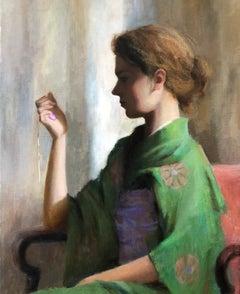 Green Kimono , American Impressionist Painter, Oil Painters of America, Portrait
