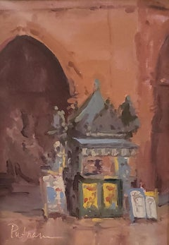 Italian Kiosk Study,American Impressionism,  Italian Cityscape Oil Painting