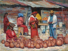 Colotenango Market,   Guatemala Indigenous , oil,vivid colors , Texas Artist,