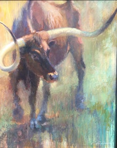 Turning Point ,Texas Cattle, Impressionism Texas Ranches, Texas Artist, Framed