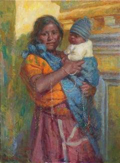 Santa Maria de Jesus, Mujer con Bebe, Guatemalan Mother and Baby, Texas Artist,