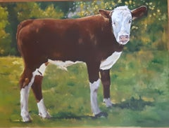 The Calf, Chilean Artist, Livestock, Landscape, Emerging Artist 24 x 31 oil
