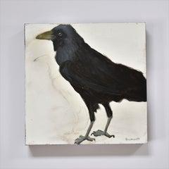 Raven 1, Figurative, Texas artist, Women in the Arts,  12 x 12 oil, Birds.