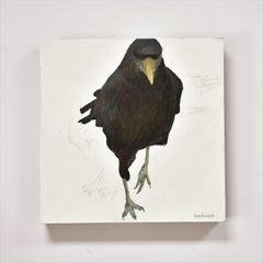 Raven 2, Figurative, Texas artist, Women in the Arts,  12 x 12 oil, Birds.