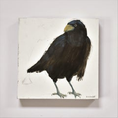 Raven 3, Figurative, Texas artist, Women in the Arts,  12 x 12 oil, Birds.