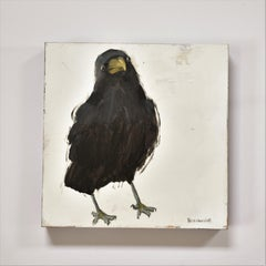 Raven 4 , Figurative, Texas artist, Women in the Arts,  12 x 12 oil, Birds.