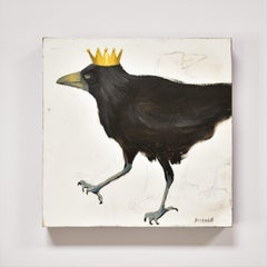 Raven 6 with a Crown, Figurative, Texas artist,  ,  12 x 12 oil, Birds.