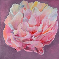 The Large Peony, Floral painting, Realism, Texas artist, Still-life, 36x36