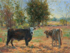 Morning Cows ,Oil Painting ,Western Art, oíl painting, Texas Artist, Landscape