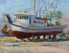 San Leon Boat Yard, vivid colors , Texas Artist,  Shrimp Boat, Coastal Painting