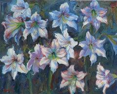 Amaryllis ,Texas Flower, Texas Artist,  Plein Aire, Native Flower. Oil Painting